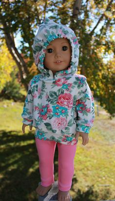 18 inch doll clothes, floral print doll hoodie, pink stretchy leggings,  Upbeat Petites by UpbeatPetites on Etsy