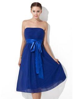 Empire Strapless Knee-Length Chiffon Charmeuse Bridesmaid Dress With Ruffle Sash Bow(s) (007000839) - JJsHouse - sage or lilac