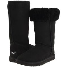 UGG Classic Tall (Black) Women's  Boots ($155) ❤ liked on Polyvore featuring shoes, boots, uggs, knee-high boots, faux fur boots, black knee boots, slip on boots, ugg australia boots and tall fur boots