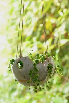 Hanging pots with holes. Ceramic Planters, Ceramic Clay, Ceramic Pottery, Pottery Art, Pottery Handbuilding, Deco Nature, Concrete Crafts, Flower Pots, Flowers