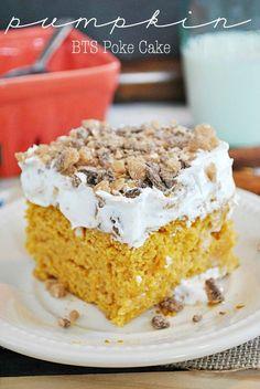 Pumpkin BTS Poke Cake | www.somethingswanky.com