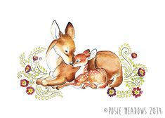 SALE! Beloved - Doe and Fawn Watercolor Giclee Print, Original Artwork, Children's illustration, Nursery Wall Art