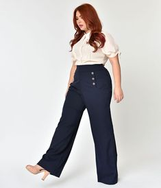Plus Size Style Midnight Blue High Waist Sailor Ginger Pants - vintage outfits Business Professional Outfits, Business Casual Outfits, Office Outfits, Plus Size Business Attire, Plus Size Professional, Casual Office, Office Attire, Stylish Outfits, Plus Size Workwear