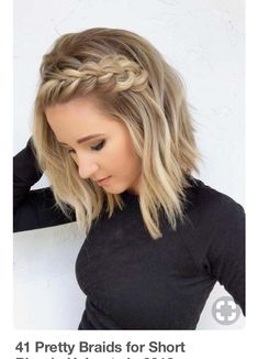 41 Pretty Braids for Short Blonde Haircuts in 2018 Braided Hairstyles Short Blonde Haircuts, Prom Hairstyles For Short Hair, Braided Hairstyles For Wedding, Braids For Short Hair, Blonde Braids, Braids For Medium Length Hair, Haircut Short, Curled Hair With Braid, Hair Plaits