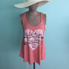 """Sale""Boutique Coral Wild Heart, Free Spirit Tank. Boutique Coral Wild Heart, Free Spirit Tank. Very soft material.  Good for a warm day. Tops Tank Tops"