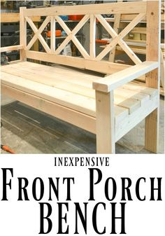 Front Porch Bench This DIY front porch bench is not only beautiful, but it is huge! Perfect for lazy evenings taking in the scenery.This DIY front porch bench is not only beautiful, but it is huge! Perfect for lazy evenings taking in the scenery. Diy Furniture Plans, Outdoor Furniture, Outdoor Decor, Outdoor Wood Bench, Furniture Online, Furniture Design, Wooden Furniture, Luxury Furniture, Furniture Makeover