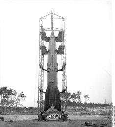 Caption: V-2 rocket prepared for launch, Peenemünde, Germany, 1940s; Source: German Federal Archive; ID: RH8II Bild-B2054-44