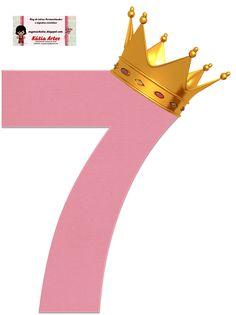 Alfabeto de Números Rosas con Coronas.