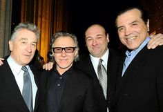Wotta bunch of wise guys! Robert De Niro (l.) welcomes Harvey Keitel, James Gandolfini and Chazz Palminteri to Vanity Fair's Tribeca Film Festival party at the Manhattan Supreme Courthouse Tuesday night. The festival, now in its seventh year, kicks off Wednesday night