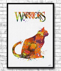 Cat Warriors Watercolor Print Orange Cat Childrens Wall Art Firestar Cat Warriors Animal Baby Room Nursery Art Cat Poster Wall Hanging  This Cat Warriors is archival art print of my original watercolor digital illustration.  Here you can see my works of Painted glass: https://www.etsy.com/shop/HandPaintedGlassArtS  ❀ BUY 2, GET 1 FREE!  ❀ LIMITED TIME ONLY  ❀ Buy ANY 2 prints and get one free (of the same size- equal or lesser value of lowest priced print).  ❀ Send me the ...