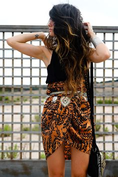 i love her hair and skirt together. i want to turn my scarves into skirts like this