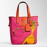 Coach Bonnie Graphic Girly Canvas Bag Tote 13379 Organe Fuschia