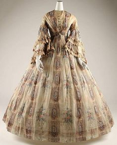 Afternoon dress  Date: ca. 1855 Culture: French Medium: cotton    http://www.metmuseum.org/collections/search-the-collections/80002256?img=1