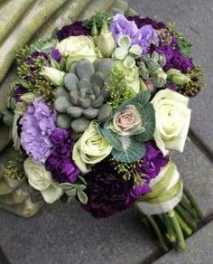 Green Roses, Succulents, Ornamental Cabbage, Purple and Lavender Lisianthus with Seeded Eucalyptus.