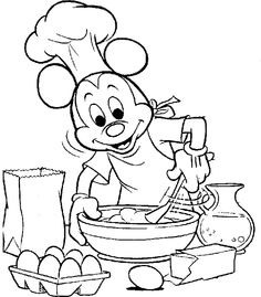 Mickey Mouse Cooking To Celebrate Thanksgiving Day Coloring For Kids - thanksgiving Coloring Pages : KidsDrawing – Free Coloring Pages Onlin...