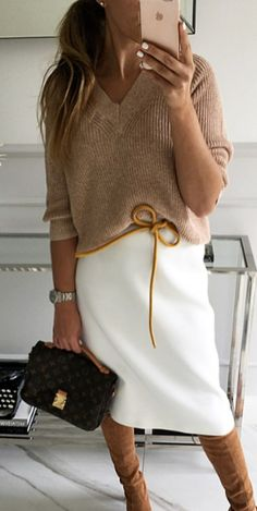 Cool Fall Outfit Idea Sweater Plus Bag Plus White Skirt Plus High Boots