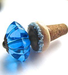 wine bottle stopper,  cobalt blue glass, repurposed up cycled bottle stopper