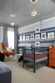 orange/navy boys' room