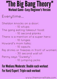 the big bang theory workout - Google Search