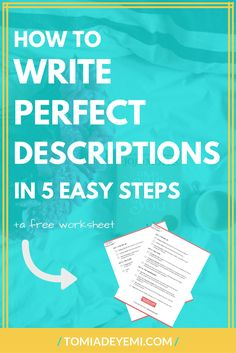 Writing the perfect description can be tough, but not when you have these 5 easy steps! Click here to learn 5 easy tricks that will make sure your novel is full of the perfect details and descriptions! Writing | Writing Tips | Writing Inspiration | Story | Story Ideas | Story Inspiration | Story Starters | Revision | Revision Notes | Revision Checklist | Editing | Editing Checklist | First Draft | First Draft Writing | First Draft Writing Tips | Descriptions