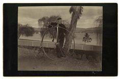[High wheel bicyclist at Lake Merritt, Oakland, Calif.], courtesy, California Historical Society