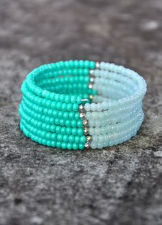 Mint Beauty Boho Wrap Bracelet by HoleInHerStocking on Etsy seed bead bracelet, boho jewelry, memory wire bracelet
