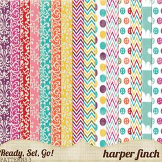 free printable pattern paper - bright colors