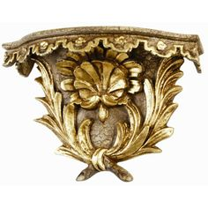 French Lace Taupe Crackle/Gold Leaf Wall Bracket