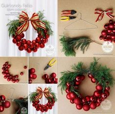 How to DIY Christmas Bauble Wreath | www.FabArtDIY.com