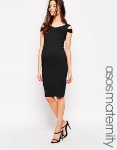 cb1cf92dad82f ASOS Maternity Bodycon Dress With Bardot Strap Detail Maternity Bodycon  Dresses, Asos Maternity, Pregnancy