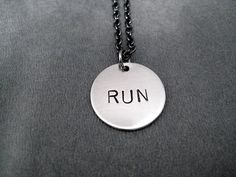 RUN Round Pendant Necklace  Running Necklace with by TheRunHome, $18.00