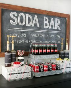 soda bar bar a bulles idee mariage original animation mariage fun Wedding Reception, Our Wedding, Dream Wedding, Sweet Table Wedding, Reception Games, Bar A Bonbon, Bar Drinks, Drink Bar, Grad Parties