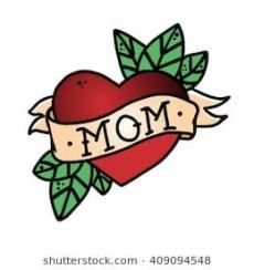 Tattoo Heart with ribbon and the word mom . Old school retro vector illustration… Tattoo Heart with ribbon and the word mom . Old school retro vector illustration . Doodle Tattoo, Kritzelei Tattoo, Tattoo Band, Retro Tattoos, Cute Tattoos, Mom Heart Tattoo, Mom Dad Tattoos, Tattoo Old School, Arrow Tattoos