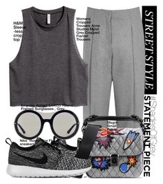 """""""#ShadesOfGrey"""" by mariannazp ❤ liked on Polyvore featuring Acne Studios, NIKE, H&M, MSGM and Emporio Armani"""
