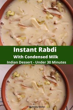 Instant rabdi or rabri is an Indian dessert that is made with condensed milk or milkmaid. This is a quick dessert for festive season. Easy Indian Dessert Recipes, Indian Desserts, Quick Dessert, Indian Food Recipes, Indian Sweets, Cold Desserts, Indian Dishes, Desert Recipes, Instant Recipes