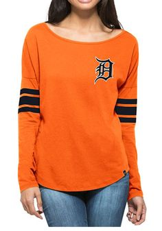'47 Detroit Tigers Womens Ultra Courtside Orange LS Tee