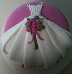 Fondant covered cake with fondant dress and rose details - comments say pleating fondant not so easy! Let's eat cake! *Note: Usually takes 24 to 48 hours prep time. Let's eat cake! We proudly serve the Brownsville, TX and South Texas Region. Wedding Shower Cakes, Wedding Cakes, Gorgeous Cakes, Pretty Cakes, Fondant Cakes, Cupcake Cakes, Wedding Dress Cake, Just Cakes, Cake Cover
