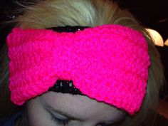 Crochet Headband with Bow  Black Sparkle with Hot by SlipStitchers