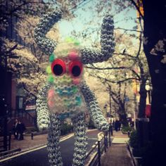 桜の花びらを吹き飛ばすぜ ヘル ラビンチョ  #amigurumi #アミグルミ #桜 #cherryblossom #street #nice #imagination #fantasy #funny #smile #cute #good #picoftheday  #today #picture #knit #crochet #handmade by baba_cchi