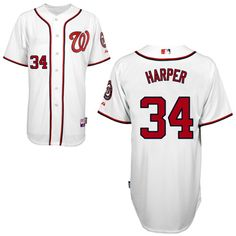Nationals #34 Bryce Harper White Cool Base Embroidered MLB Jersey