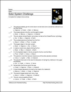 9 Worksheets to Teach Your Child About the Solar System: Solar System Challenge