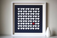 """Unique Wedding Guest Book Alternative . 20"""" x 20"""" shadowbox frame . """"write your name on a heart to wish the couple a happy start"""""""