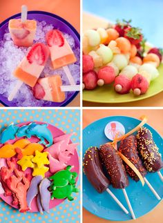 Here are some fun and nutritious snacks for an upcoming kids party. Making unique creations will ensure the little ones will get the their fill of healthy treats!