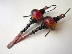 Up Jumped the Devil - primitive elemental wicked fiery red orange violet lampwork glass Basha beads & hammered dark copper stick earring