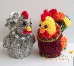 """Купить """"Петушок и курочка"""" вязаные игрушки - вязаная игрушка, курочка, петушок, курица, петух, яйцо"""
