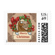 Cartoon Horse With Wreath  Merry Christmas Sign 2 Postage - christmas stamps custom merry xmas postage diy customize