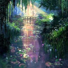 Genesis Gallery - James Coleman - Pond of Enchantment Fantasy Art Landscapes, Fantasy Landscape, Landscape Art, Landscape Paintings, Fantasy Places, Fantasy World, Arte Steampunk, Environment Concept Art, Anime Scenery