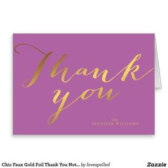 Chic Faux Gold Foil Thank You Notes Stationery Note Card