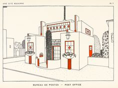 Une Cité Moderne, part 2 - In 1922 French architect Rob Mallet-Stevens published a portfolio of 32 stunning modernist designs for the constituent buildings of the 'city of today'. The black and white. Robert Mallet Stevens, Art Deco Illustration, Illustrations, Vienna Secession, Alphabet Design, French Architecture, Black And White Lines, Maritime Museum, Modern City