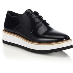 Vince Reed Glazed Leather Platform Oxfords (485 AUD) ❤ liked on Polyvore featuring shoes, oxfords, apparel & accessories, black, lace up shoes, black oxford shoes, platform lace up shoes, shiny black shoes and black oxfords